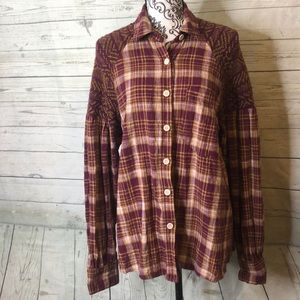 Free people Plaid Long Sleeve Sweater Button DownM